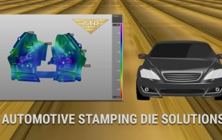 Stamping Die computer generated rendering alongside sportscar caricature on gold background.
