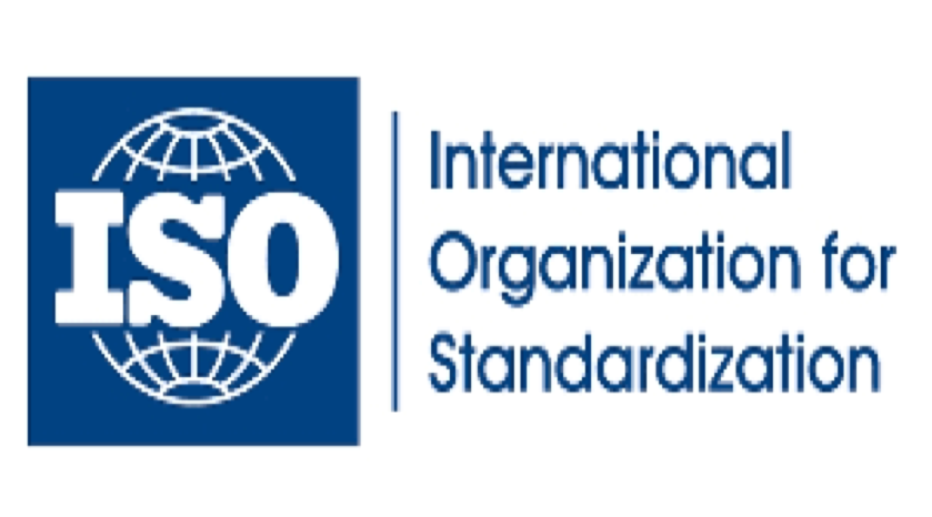 The ISO logo: on the left is a blue insignia with a white globe and the initials ISO in the middle of it, on the right side 'International Organization for Standardization' is printed in blue text.