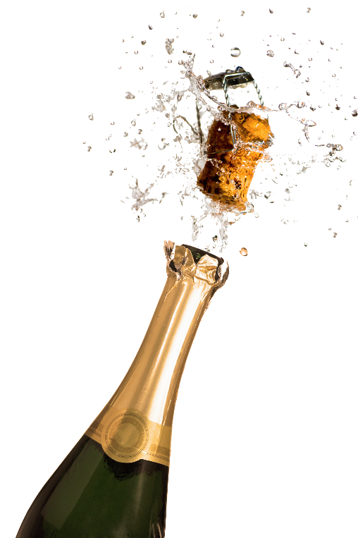 A cork, muselet, and drops of champagne shoot out of a brown bottle of champagne with a golden wrap covering the neck and a round logo at the bottom of the foil.