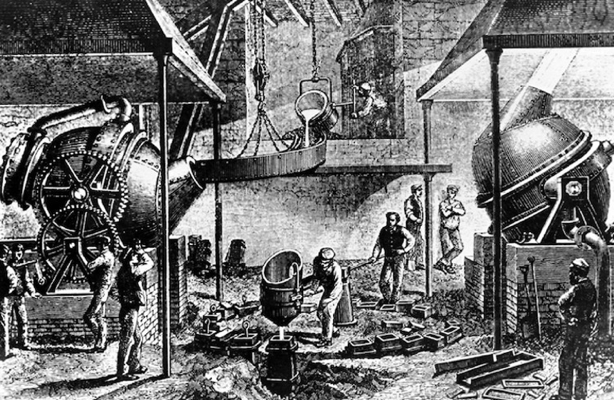Historical-appearing, black and white sketch of a steel processing factory with workers mixing and pouring into molds.