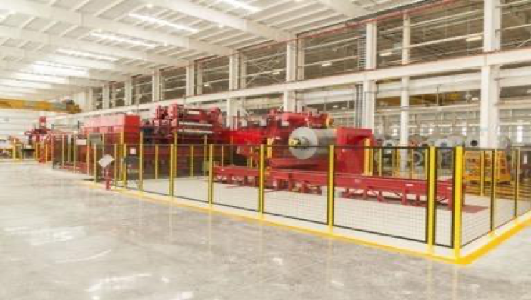 The steel slitting line at NMM's plant in Monterrey, Mexico.