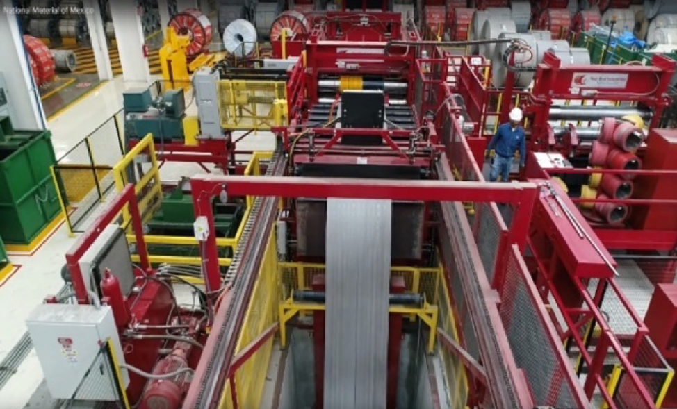 """A beautiful, aerial view of the signature """"fire-engine red"""" Red Bud slitter at National Material of Mexico's Monterrey plant."""