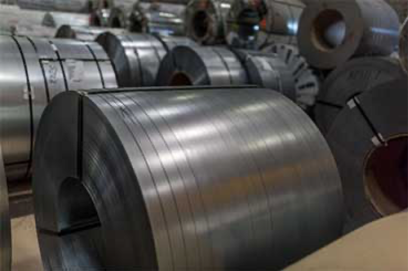 Multiple finished coils of slit steel, packaged, bound, and ready for delivery.