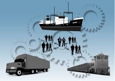 An image showing a sketch of a truck, a train, and a cargo ship in front of a watermark made of gears and between them groups of people, all of which represent logistics and logistical capacity.