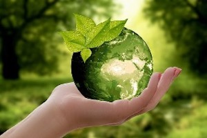 A hand holds a translucent green globe, where Africa can be seen. The globe has dew-covered green leaves resting on top and an out of focus forest is implied in the background.